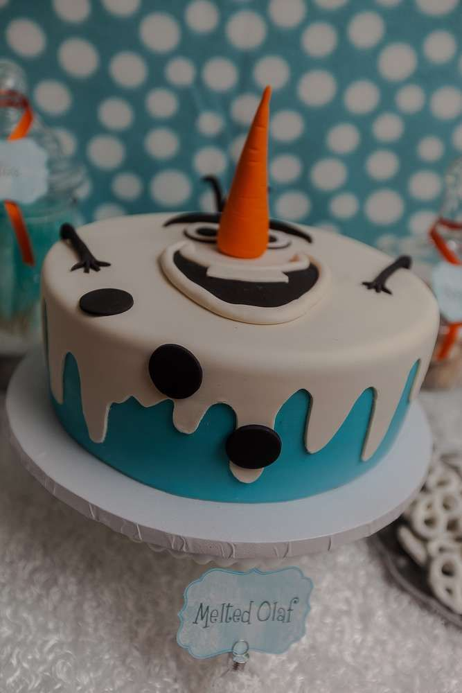 Melted Olaf cake at a Frozen birthday party! See more party planning ideas at CatchMyParty.com!