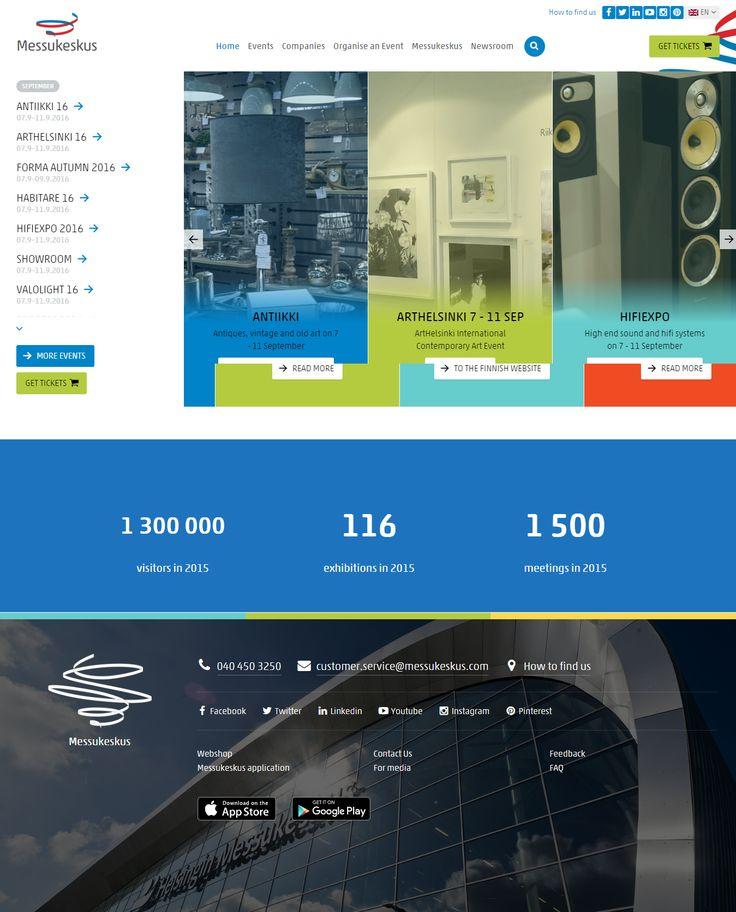 Helsinki Fair Centre website inspiration