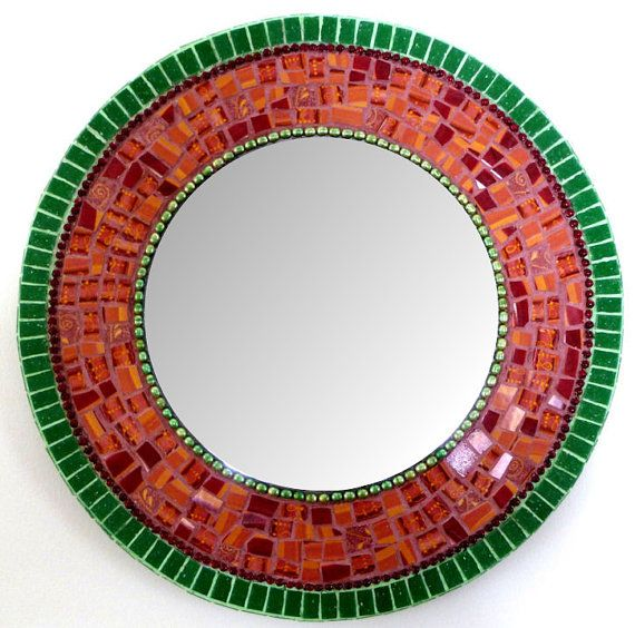Round  Mosaic  Wall  Mirror 17 Green and Terracotta by SunAndCraft, $199.00