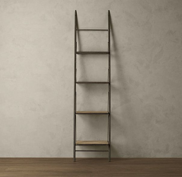 Elm and iron narrow ladder shelving | Wood | Pinterest ...