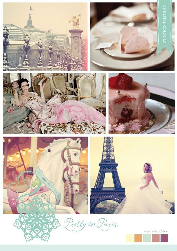 French inspired pastel mood board made by Chrystalace Wedding Stationery.