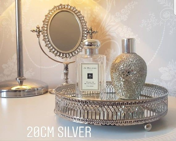 Silver Or Copper Ornate Round Mirrored Glass Tray Metal Mirrored Tray Center Piece Decorative Candle Plate Display Tray Home Decor Silver Home Accessories Candle Decor Mirror Ornaments