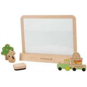 This drawing tablet is made out of 100% FSC Certified wood. This eco-friendly toy gives hours of unplugged fun as kids express their creativity on the blackboard or whiteboard sides of the tablet. 36+ months.