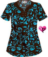 UA Edgy Bloom Coffee Bean Lace Up Neck Print Scrub Top Style #  UA524EBC