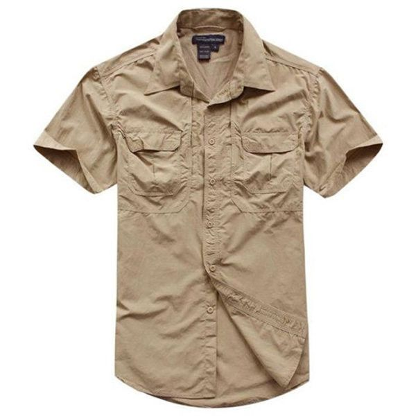 Outdoor Casual Quick Drying Thin Water Repellent Short Sleeve Dress Shirts for Men