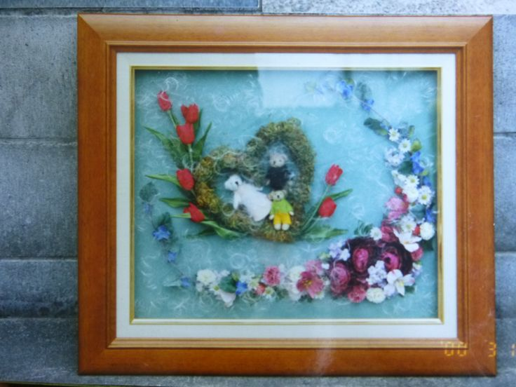 Artificial Flowers and Teddy Bears in a Frame by Kent Florist Mikiko Inoue