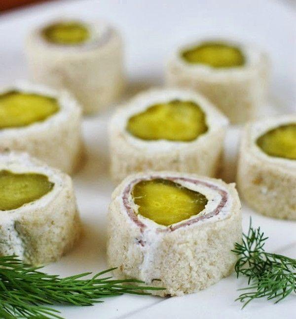 Канапе с солеными огурцами и сыром 6
