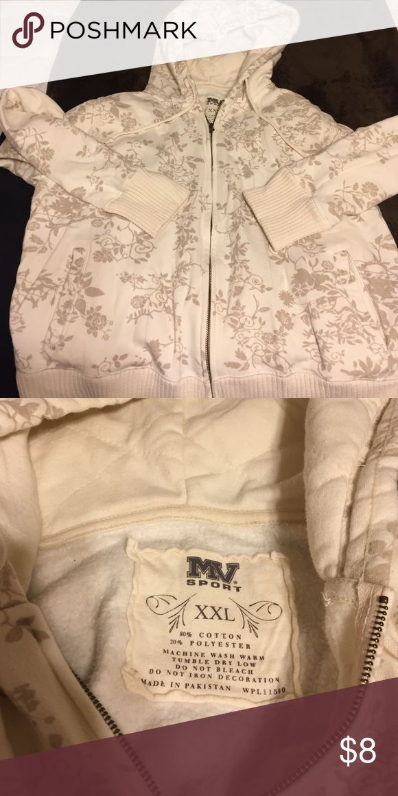 Cream hoodie with floral print Cream zip up hoodie with wide ribbing and quilted hood. Has pockets. Smoke free home no stains or tears. Says xxl but fits more like xl. Sweaters