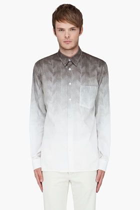 Ann Demeulemeester Ivory Para Herringbone Shirt for Men | SSENSE