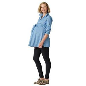 Chambray maternity tie shirt #ohswag #stylishmamas #mamafashion
