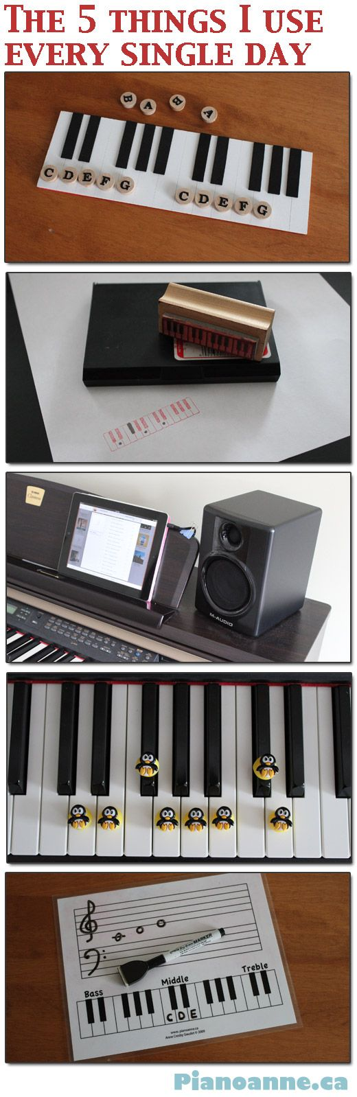 5 piano teaching aids that look great to use.  I love the keyboard stamp - and the penguins look so cute.!
