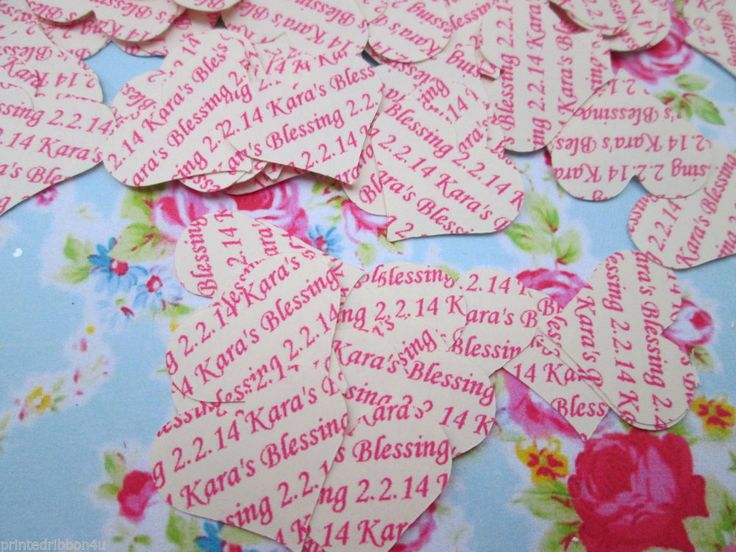 Personalised Wedding Confetti 120 Hearts Vintage Cream Shabby Chic FAST Despatch