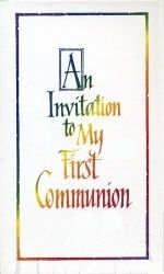 First Communion Invitations With Rainbow Text.