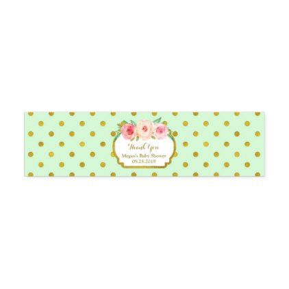 Mint Gold Dots Baby Shower Water Bottle Label - gold wedding gifts customize marriage diy unique golden