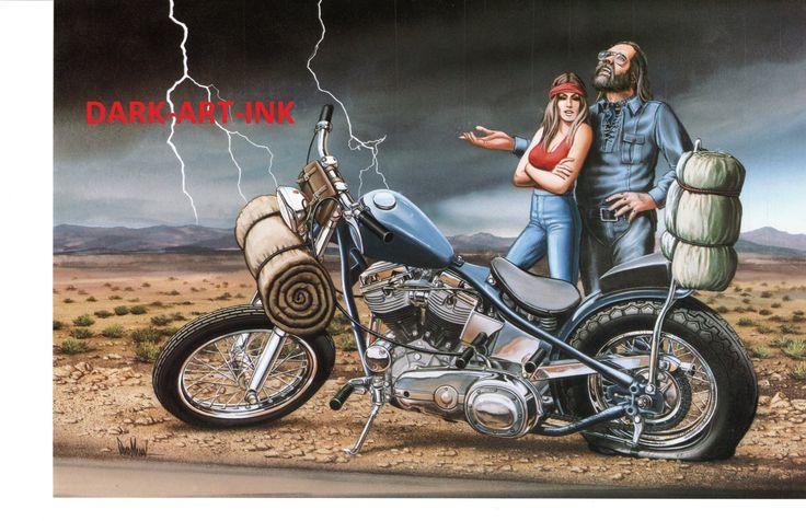 David Mann moto Poster Art Ride milieu de nulle part par darkartink