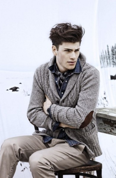 Gorgeous and swag: Cardigans, Men Clothing, Menfashion, Style, Elbow Patches, Denim Shirts, Men Fashion, Hair, Knits Sweaters