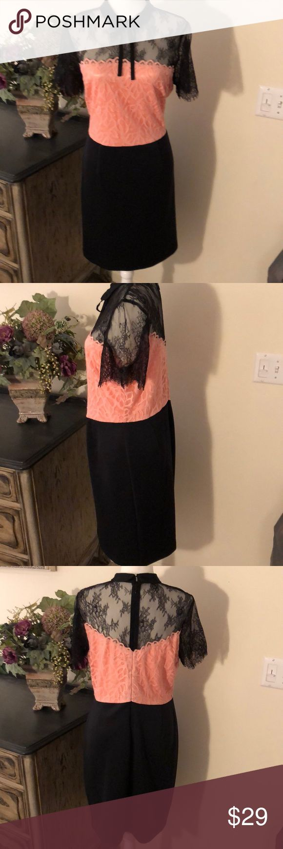 New York & Company Black Peach Lace Dress L New without tags. Never worn or washed. Gorgeous! Solid black skirt with pink peach bodice and lace top with collar and bow. So flattering and cute for all seasons.  20 inches pit to pit 38 inches shoulder down. New York & Company Dresses