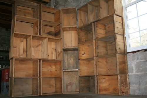 RETAIL DISPLAY  3 ANTIQUE WOODEN 1950 APPLE CRATE BOXES