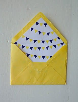 K + C wedding invitation - Yellow envelope with homemade liner