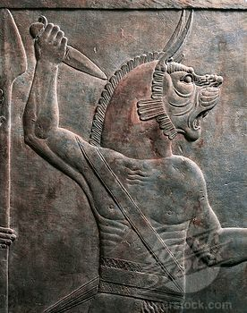 Detail of relief depicting figure of guardian lion, from ancient Nineveh, Iraq