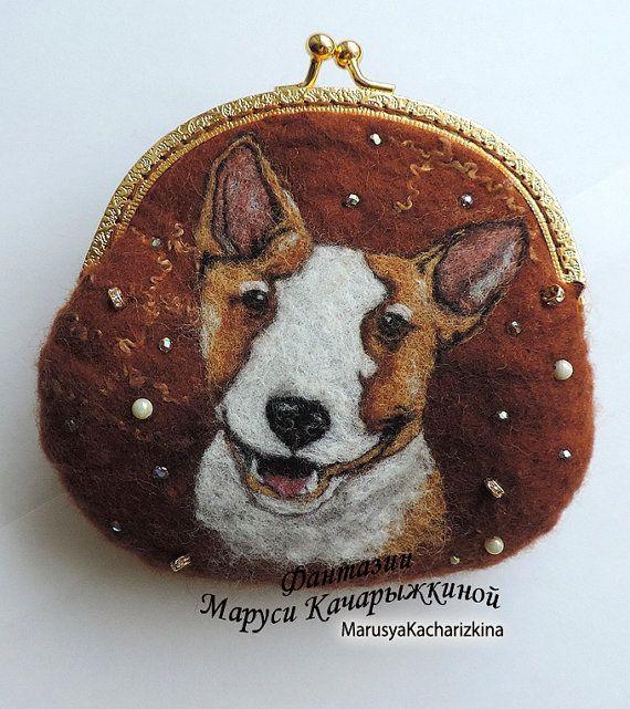 Handmade felted wallet purse with bull by MarusyaKacharizkina ♡
