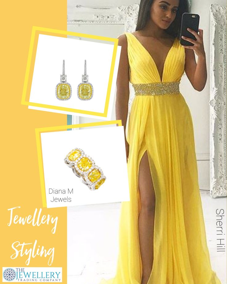 Sunflower yellow, this gorgeous flowing gown by Sherri Hill will catch everyone's eye! Add some sparkle to match the detail on the waist with beautiful yellow & white diamonds by @dianamjewels. A stunning diamond band and drop earrings - Stylish! Jewels available from www.1stdibs.com