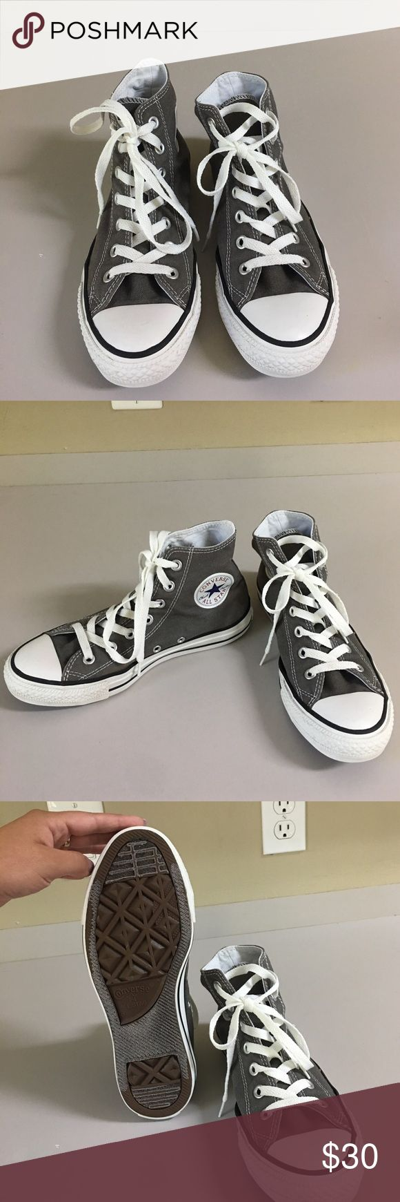 Grey high top converse Grey high top converse! Still in great condition 👻👟 Size 8 woman Converse Shoes Sneakers
