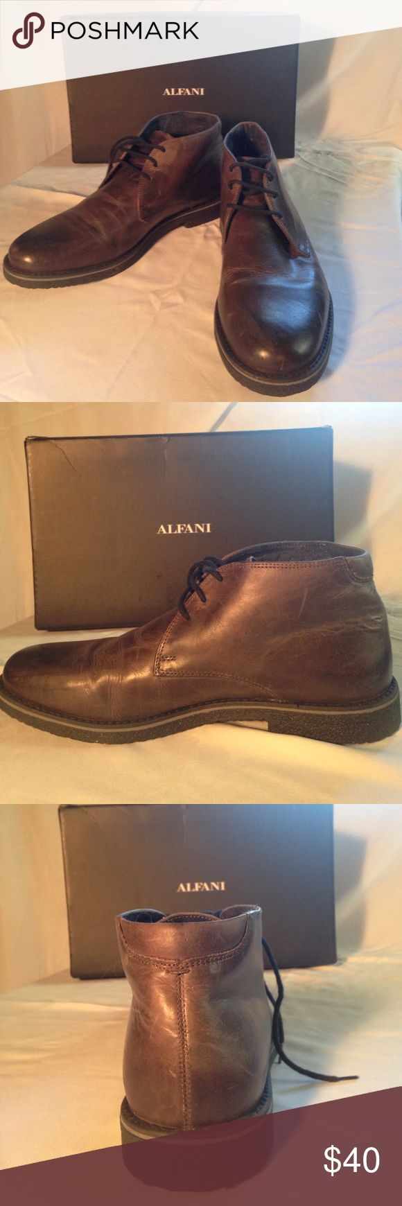Alfani Men's Lancer Leather Chukka Boots-brand new Alfani men's Lancer Leather lace up chukka boots. Box says gray but is more of a cool dark brown. Never worn! Comes from non smoking home. Alfani Shoes Chukka Boots