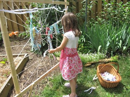 """""""Build a garden weaving structure to do all kinds of large, outdoor weaving on throughout the year using rope, yarn, sticks, flowers, grasses..."""""""