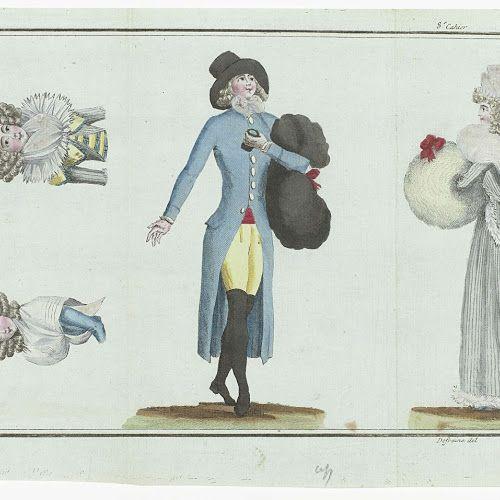 Jongeman in 'négligé', bestaande uit een blauwe redingote, rood vest en gele kniebroek | Rijksmuseum | 1789