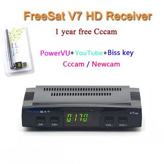 DVB-S2 Freesat V7 Receptor satellite DecoderUSB WIFI with cccam cline for 1 year HD 1080p BISS Key Powervu satellite receiver (32705802525)  SEE MORE  #SuperDeals