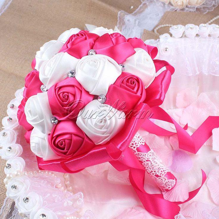 Handmade Bridal Rose Silk Bouquet Bud Flower with Ribbon Rhinestone for Wedding Decoration Aqua Blue/Red/Purple