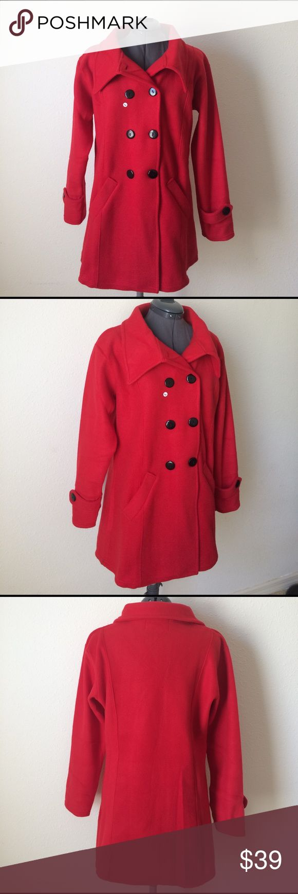 🌟New🌟Red sweater pea coat w Black buttons Red pea coat with black buttons. Double breasted. 100% spun polyester. Soft and comfortable. Cute and classy. Perfect addition to your fall wardrobe. Light Fall jacket. Jackets & Coats Pea Coats