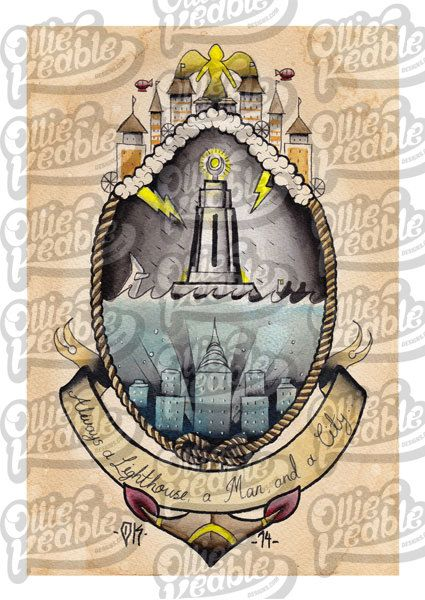oh pretty.. nowhere near this big though.... Bioshock Inspired Tattoo Design Lighthouse by OllieKeableDesigns, £15.00