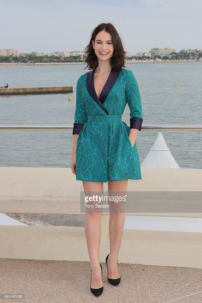 Lily James attends 'Harvey Weinstein' photocall on La Croisette on October 5, 2015 in Cannes, France.