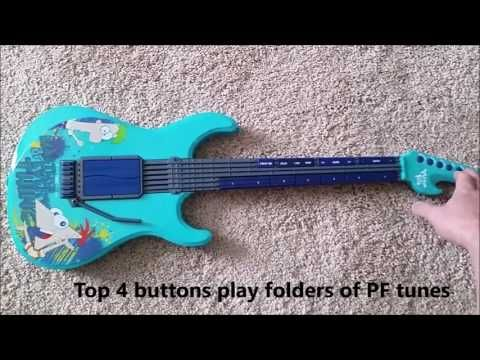 My hack of a Phineas and Ferb electric guitar.  Used arduino, mp3 board and amplifier.  Now plays PF theme music/songs.