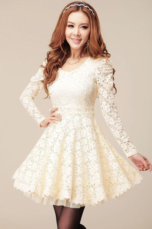 Wholesale Long Sleeves Sweet Style Scoop Neck Polyester Lace Splicing Dress For Women (WHITE,S), Lace Dresses - Rosewholesale.com