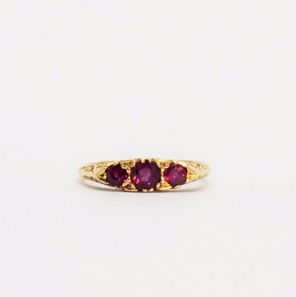 Art Deco 1930's Yellow Gold Three Stone Ruby Ring