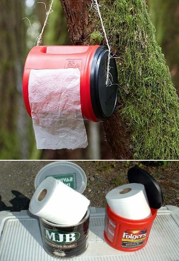 Store and protect toilet paper in a repurposed coffee container.