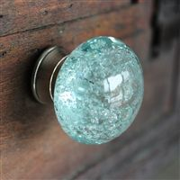 Glass Drawer Knobs with bubbles in Light Blue