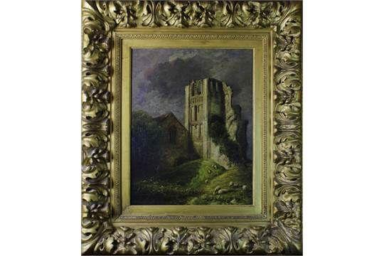 "David Hodgson (1798-1864, British), ""Castle Acre, Norfolk"", oil on canvas, signed lower left, 480"