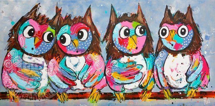 Vrolijk Schilderij Schilderij uilen