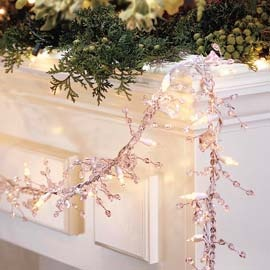 Clear Beaded Garland with Lights, 9 Foot Strands | Solutions