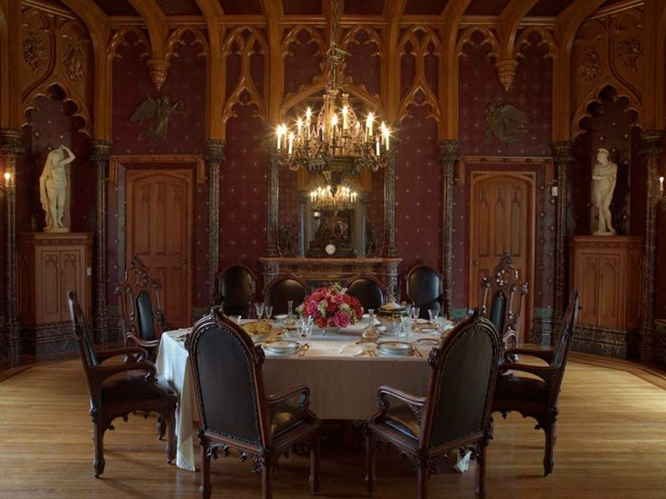 Lyndhurst - The Dining Room, added to the house in the 1860s, is the ultimate expression of Alexander Jackson Davis's work; he designed the space, the interior decor and the furniture, which was used by the Gould family until 1959.