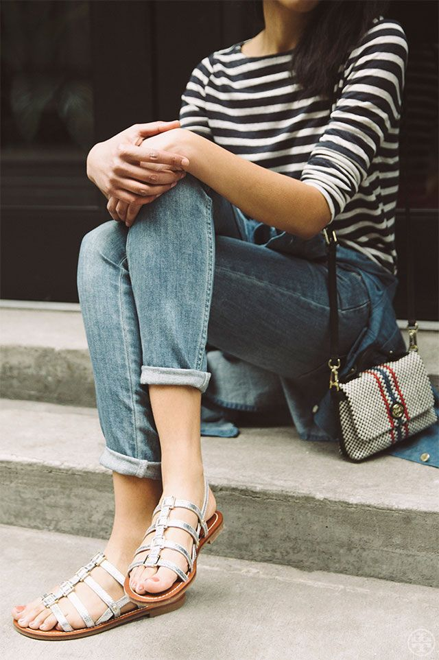 A go-to spring uniform? Jeans, striped t-shirt and the Tory Burch Reggie Metallic Flat Sandal