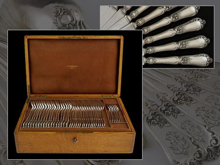 French antique silver flatware set for 18 people, 128 elements, Paris