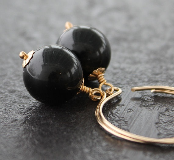 Onyx and 14K Gold filled earwire.