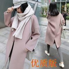2016 новый зимний кокон шерстяного пальто женского корейский длинный абзац Тонкий силуэт свободного розовое шерстяное пальто