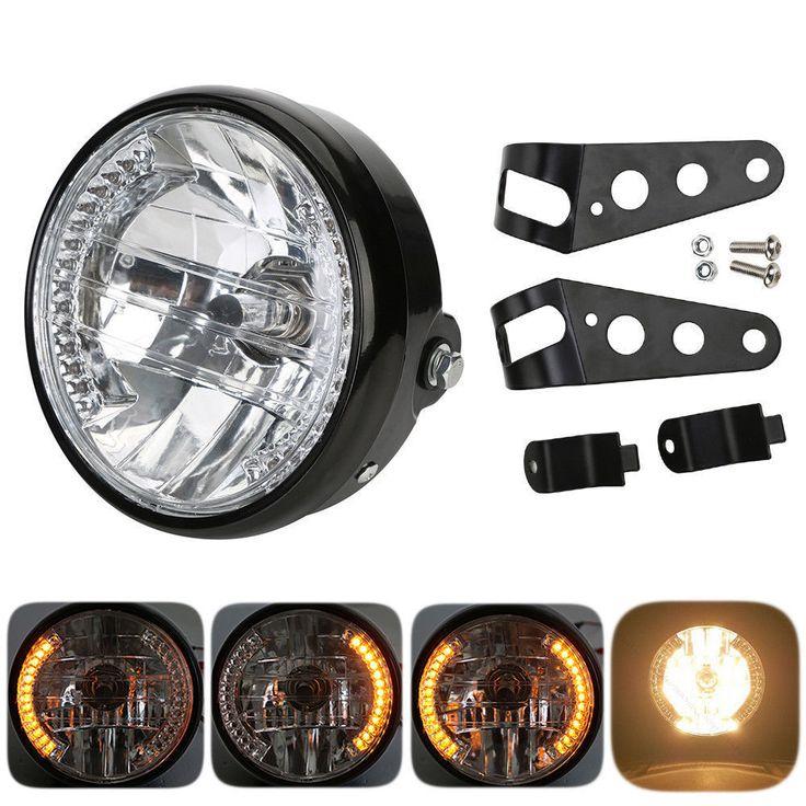 "7"" MOTORCYCLE HEADLIGHT AMBER LED TURN SIGNAL INDICATORS WITH HEAD LIGHT BRACKET | eBay Motors, Parts & Accessories, Motorcycle Parts | eBay!"
