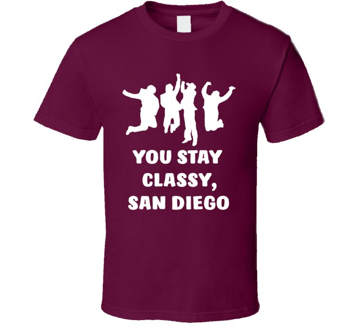 If you like this shirt, click Here to see our entire Ron Burgandy collection  Order your very own Anchorman Channel Four News Team Jump You Stay Classy, San Diego Quote Fan T Shirt. It won't be around forever so buy yours here today! Shop our huge selection of high quality, graphic apparel. Each sports themed design is offered on a variety of sizes and styles including; t shirts, hoodies, aprons and even baby one-pieces! This product is pre-treated to ensure quality and longevity of the…
